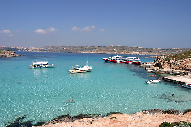 Swimming in the Blue Lagoon, Comino, Malta.